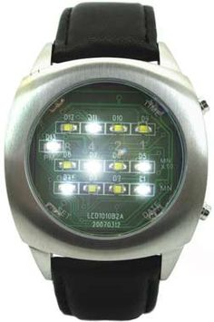 White Binary LED Watch Digital Display With Leather Strap