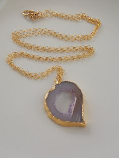 SALE Geode Slice Necklace on a 24 inch Gold Fill by MalieCreations, $40.50