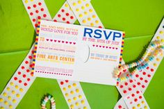 Pop Art puzzle piece wedding invitation. Perforated too! Design by Two Brunettes. Picture by Kurstin Roe.  See more here: http://www.bellwetherevents.com/