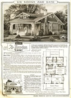Bandon was a Sears Craftsman Bungalow mail-order house. Identical floor plan, but rooms were rearranged.The Bandon was a Sears Craftsman Bungalow mail-order house. Identical floor plan, but rooms were rearranged. Bungalow Homes, Craftsman Style Homes, Craftsman Bungalows, Craftsman Kitchen, The Plan, How To Plan, Sears Catalog Homes, Vintage House Plans, Vintage Homes