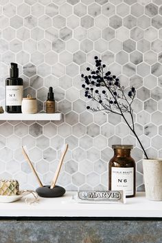 Bathroom decor, Bathroom decoration, Bathroom DIY and Crafts, Bathroom Interior design Bathroom Floor Cabinets, Bathroom Flooring, Bathroom Taps, Bathroom Ideas, Bathroom Organization, Grey Bathroom Tiles, Bathroom Splashback, Mosaic Bathroom, Remodel Bathroom