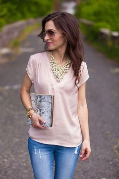 powder pink blouse and pearl statement necklace // LipglossandLabels.com