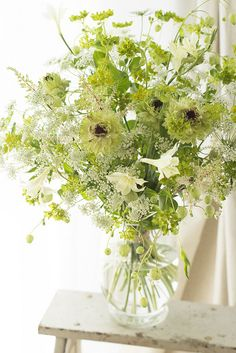 Floral Arrangement ~ whites and greens