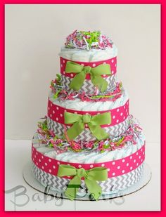 Girls Baby Shower , Chevron, hot pink, gray and light pink, Diaper Cake, Baby Shower Decorations
