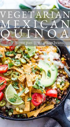A flavor packed weeknight Vegetarian Mexican Quinoa Recipe that comes together in one pan. Packed with those flavors we crave, this skillet Mexican quinoa is loaded with veggies, beans and cheese. Versatile, easy, freezer friendly and delicious, this recipe is vegetarian, gluten free and easily vegan. Healthy Veg Recipes, Allergy Free Recipes, Gluten Free Vegetarian Recipes, Bean Recipes, Mexican Food Recipes, Ethnic Recipes, Mexican Meals, Vegetarian Meals, Delicious Recipes