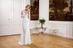 Modeca Brautkleid langer Arm Spitze Hippe Vintage Taft und Tüll Brautstudio