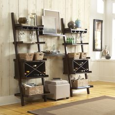 Dress up a ladder shelf to make it fit your home. Wondering if I could turn this into a entertainment wall! Decor, Apartment Living, Home Projects, Interior, Home, Home Remodeling, Rental Furniture, Home Deco, Interior Design