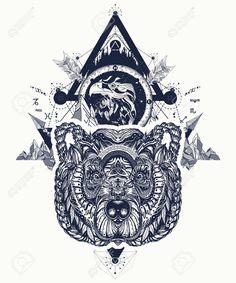Eagle and bear tattoo art, mountains, crossed arrows, forest. Tribal Bear Tattoo, Geometric Bear Tattoo, Black Bear Tattoo, Rock Tattoo, Wild Tattoo, Tattoo Art, Grizzly Bear Tattoos, Polar Bear Tattoo, Traditional Bear Tattoo
