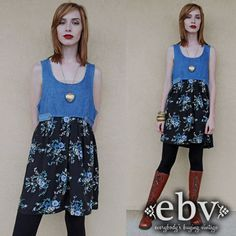 Your place to buy and sell all things handmade 90s Grunge, Grunge Fashion, Tights And Boots, Ditsy Floral, Baby Dolls, Super Cute, Denim, My Style, Model