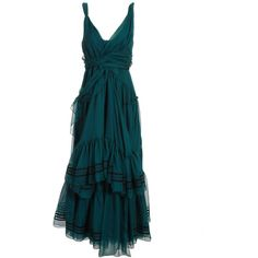 Chloe Long wrap dress with ruffles ($2,725) ❤ liked on Polyvore