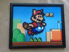 Raccoon Mario Soaring High in Perler Bead Form - Framed Pixel Art - Nintendo, NES, Super Mario,Perler Bead Sprites, Pixel Art, Mario Gift