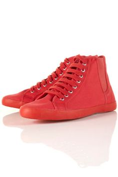 TENOR Red Elastic Side Hi-Top Canvas Trainers        Price: $45.00