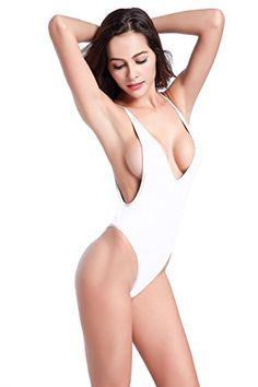 ee866ea3e5 SHEKINI Women s High Cut One Piece Backless Thong Brazilian Bikini Swimsuits  at Amazon Women s Clothing store