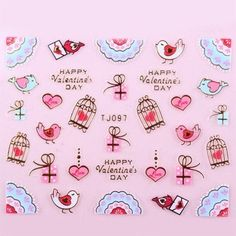 Valentines Lips & Love Hearts Lace 3D Design Nail Art Stickers Decals #nails #nailart #nailartstickers