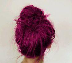 Fuschia hair...Awesome peek a boo highlights too! Under dark hair...