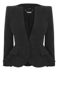 Black Cotton Wing Peplum Jacket by Alexander McQueen. Out of my price range I'm sure but very cute!