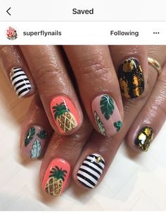 Over 50 Bright Summer Nail Art Designs That Will Be So Trendy All Season - 54 The Brightest Spring 2020 Nail Trends That Are SO Popular Right Now Manicure Y Pedicure, Gel Nails, Stiletto Nails, Cute Nails, Pretty Nails, Nail Art Inspiration, Tropical Nail Designs, Pineapple Nails, Pineapple Nail Design