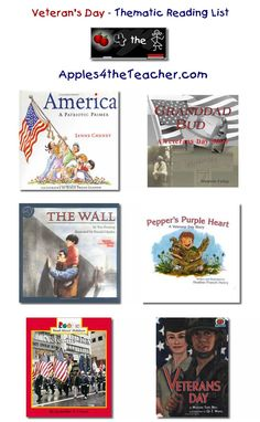 November Suggested thematic reading list for Veterans Day - Veteran's Day books for kids. Kindergarten Reading, Teaching Reading, Kids Reading, Veterans Day Activities, Kids Learning Activities, Veterans Memorial, Memorial Day, Military Veterans, Thematic Units
