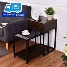 2 pcs Metal Frame Wood Glass Top Nesting Side Table!