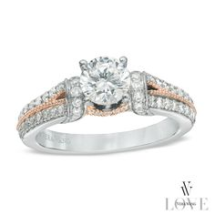 Vera Wang LOVE Collection 1-1/4 CT. T.W. Diamond Collar Engagement Ring in 14K Two-Tone Gold - - Zales