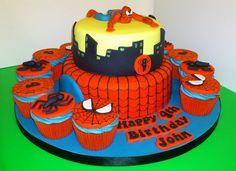 spiderman cupcakes | Spiderman Cake and Cupcakes | Flickr - Photo Sharing!
