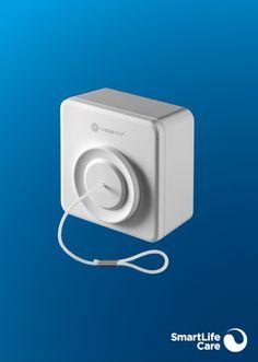 Mit dem Zugschalter können Sie auch dann einen Alarm auslösen, wenn Sie keinen Notrufknopf tragen. Der Zugschalter wird beispielsweise im Schlafzimmer oder im Bad montiert. Button, Black Bracelets, Light Switches, Light Blue, Black Braces, Train, Bedroom, Wristlets