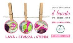 Il Bucato. Attività Montessori estiva. Lava, strizza, stendi. clothespin + wash for kids activity
