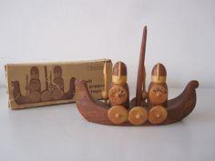 Vintage Norwegian Wooden Viking Salt and Pepper by vivienvintage