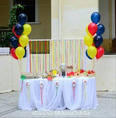 Baptism decoration with balloons Baptism Decorations, Balloon Decorations, Balloons, Birthday Cake, Ideas, Globes, Birthday Cakes, Balloon, Thoughts