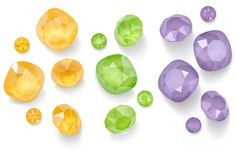 Crystal Shiny LacquerPRO Effects - Buttercup, Lime and Lilac - These colors are so uplifting! See more from the Swarovski Spring/Summer 2019 Innovations on the Artbeads Blog