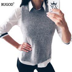 Rugod 2018 Autumn Winter Jacket Women Vest Warm Wool Vests Plus Size Gray Sleeveless O Neck Knitted Veste Femme Colete Feminino