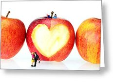 Tiny People Big World Greeting Cards - The Lovers In Valentines Day little people on food Greeting Card by Paul Ge