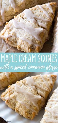 MAPLE CREAM SCONES RECIPES These light and flaky Maple Cream Scones are full of sweet maple flavor and topped with a cinnamon spice glaze! These Maple Cream Scones are the perfect fall breakfast, or sweet fall dessert! => Click image or visit butto Dessert Party, Oreo Dessert, Fall Dessert Recipes, Winter Desserts, Delicious Desserts, Quick Dessert, Dessert Healthy, Fall Recipes, Cinnamon Scones