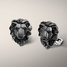Lion Head Cufflinks in Sterling Silver