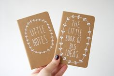 Little Notes AND The Little Book of BIG Ideas - Pair of hand illustrated Moleskine Journals