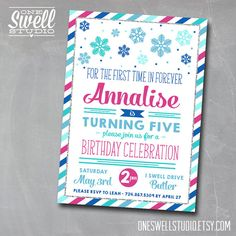 "Frozen Inspired Printable Invitation 5x7"" format - For the First Time in Forever by oneswellstudio Frozen Party Frozen Birthday"