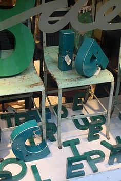 vintage sign letters = swoon    Vintage sign letters in Copenhagen.  Love, love, love the blues and greens!