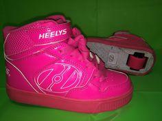 New Heelys Dual Up Hx2 Childrens Girls Wheel Skating Shoes Black Neon Pink Sale