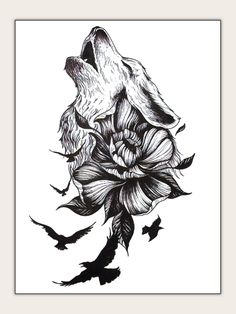To find out about the Flower & Wolf Shaped Tattoo Sticker at SHEIN, part of our latest Tattoos ready to shop online today! Wolf Tattoo Design, Tattoo Designs, Form Tattoo, Shape Tattoo, Wolf Tattoo Sleeve, Sleeve Tattoos, Wolf Tattoo Back, Tattoo Wolf, Fenrir Tattoo