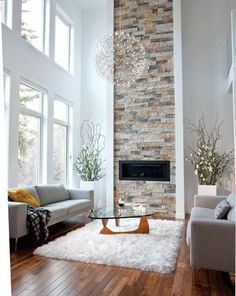35 Chic Living Room Wall Decor Ideas - Home Decor & Design Living Room White, Living Room Windows, Chic Living Room, Living Room With Fireplace, White Rooms, Living Room Grey, Rugs In Living Room, Living Room Designs, Living Room Decor