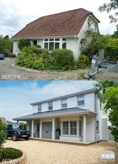 ultimate exterior transformation in West Sussex by Back to Front Exterior DesignThe ultimate exterior transformation in West Sussex by Back to Front Exterior Design Bungalow Exterior, Bungalow Renovation, Bungalow Extensions, House Extensions, Home Exterior Makeover, Exterior Remodel, Style At Home, Bungalow Conversion, House Makeovers