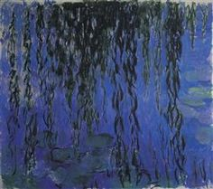 Water Lilies and Weeping Willow Branches - Claude Monet 1916-1919 During World War I, in which his younger son Michel served and his friend and admirer Clemenceau led the French nation, Monet painted a series of weeping willow trees as homage to the French fallen soldiers.