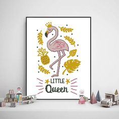 Flamingo little queen cross stitch baby girl nursery bird animal floral pineapple watercolor - Cross Baby Cross Stitch Patterns, Cross Stitch Baby, Pineapple Watercolor, Baby Decor, Girl Nursery, Needlepoint, Flamingo, Pattern Design, Handmade Gifts