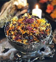 Samhain Veils Edge Casting Herbs | Breaking thru the Veil, Seance, Otherworldly Spirit Workings | Samhain Offering Samhain Ritual, Witch Bottles, Beautiful Candles, Beltane, Burning Candle, How To Fall Asleep, Smudging, Herbalism, It Cast