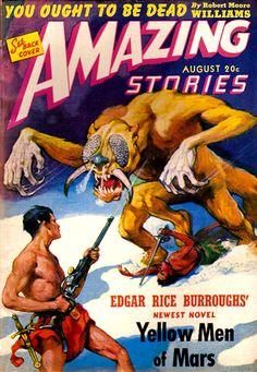 Amazing Stories Aug 1941 - Yellow Men of Mars, Cover art by J. Allen St. John