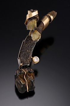 Pin. fossilized horse teeth, drusy, cz, fossilized tapir tooth, 14 KY, 14 KW. $1200. | Flickr | Lisa Ben-Zeev