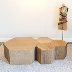 Hexagon Wood Modern Geometric Table- Natural in large and small. Use as a modular coffee table or as bedside tables