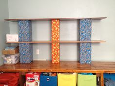 Fabric covered cinder blocks+ wood shelves = my new dresser!!
