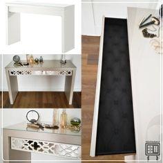 Toaletka lustrzana IKEA malm, meble lustrzane, metamorfoza toaletki IKEA, IKEA HACK, toaletka glamour