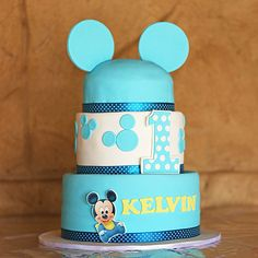 Blue baby Mickey Mouse cake by Cutie Cakes
